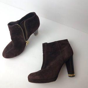 Tory Burch high heel dark brown suede booties gold